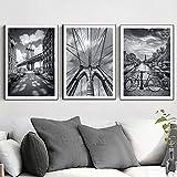 zuomo Amsterdam Views New York Brooklyn Bridge Posters e Impresiones Pintura en Lienzo Imágenes artísticas de Pared en Blanco y Negro para la decoración de la Sala de Estar 50x70cm Sin Marco