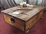 Mesa de centro con almacenamiento, con tablón de madera rústica para guardar mantas o juguetes