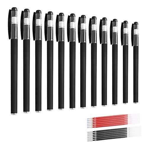 YQ 12 PCS Rollerball Pens,Negros de Tinta Líquida Bolígrafo de Punta de Bola de Gel 0.5 mm para Escribir(Incluye 6 núcleos de Reemplazo Rojos y 6 Negros)