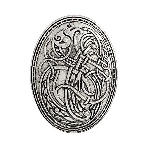 Patch Nation Nordisches Schild Symbol Wikinger Metall Button Badge Pin Brosche Abzeichen (Silber)