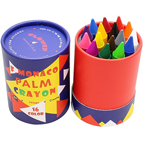Jumbo Crayons for Toddlers, 16 Colors Non Toxic Crayons, Easy to Hold Large Crayons for Kids, Safe for Babies and Children Flower Monaco