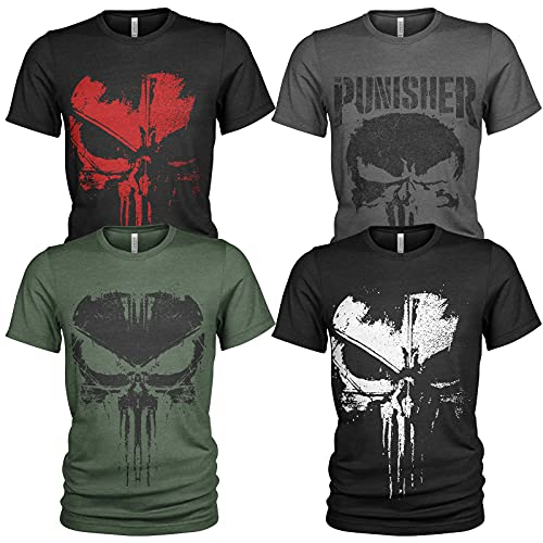 4er Pack Herren T-Shirt Vintage US Army mit Frontprint und Rundhalsausschnitt (L, Punisher 1)