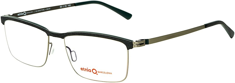 Etnia Barcelona Silverstone BKGR Black Green Metal Rectangle Eyeglasses 53mm