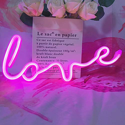 Neon Art Love Signs Light LED Love Kids Gift-Decorative Marquee Sign for Wall Room Wedding Party Bar Pub Hotel Beach Recreational (Pink)
