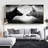 Lienzo de lobo y luna en blanco y negro, carteles de animales e impresión, Cuadros, cuadro artístico de pared para la decoración del hogar de la sala de estar 50x100 CM (sin marco)