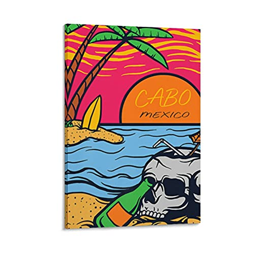 Wall Decor Ca-bo San Lucas Mexico - Skull Beach & Palms Canvas Wall Art Prints Picture Contemporary Printed Decorative Artwork Wall Decor Ready to Hang 24?¨¢36inch for Living Room Canvas Wall A