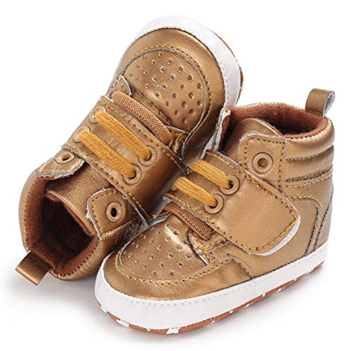 Baby Girls Boys Shoes Soft Sole High Top Sneaker Anti-Slip Sole Newborn Infant First Walkers (Gold, 0-6 Months)
