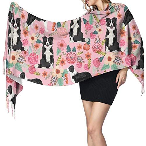 Bufanda grande para mujer, diseño floral, color rosa