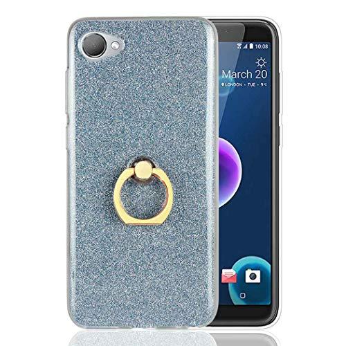 Ycloud Soft Silikon TPU Hülle für HTC Desire 12 Smartphone, Funkeln Glitzer Handyhülle mit Ring-Schnalle Ständer Entwurf Ultra Slim Back Cover (Blau)