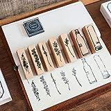 Juego de sellos de impresión de madera, Lychii 20 PCS Sello de goma de madera vintage, Juego de sellos de caja de plantas naturales (Flowery)