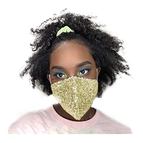 deladola Sequins Face Mask Gold Sparkly Cloth Mask Nightclub Masquerade Masks Washable Reusable Face Covering Venetian Mardi Gras Jewelry for Women and Girls