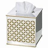 Creative Scents Gold Tissue Box Cover Square - (6' x 6' x 5.75') – Decorative Bath Tissues Napkin Holder with Bottom Slider- for Cute Elegant Bathroom Decor Diamond Lattice Collection