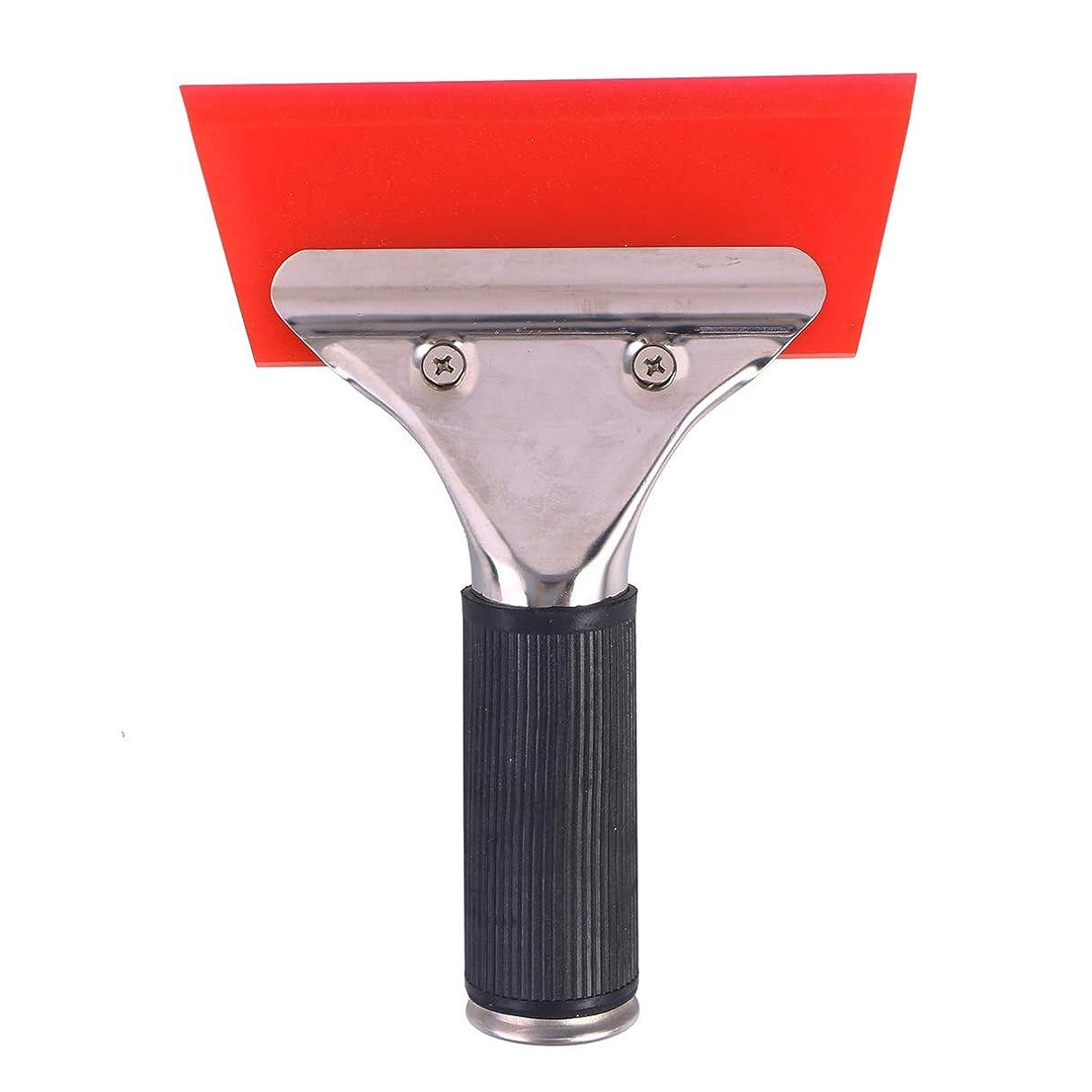 どう?チェス警察OUNONA 水切りワイパー ガラススクイジー シリコン製 T字型 掃除 車用 窓 浴室 鏡 ガラス掃除ツール(赤色)