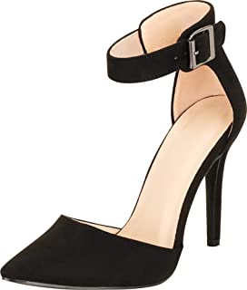 Cambridge Select Women's D'Orsay Closed Pointed Toe Buckled Ankle Strap Stiletto High Heel Pump