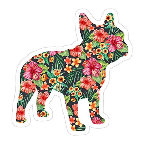 PRINTFIT (3 PCs/Pack) French Bulldog Flower Floral Frenchie Dog Silhouette 3x4 Inch Die-Cut Stickers Decals for Laptop Window Car Bumper Helmet Water Bottle