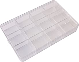 BangQiao Clear Plastic Storage Case and Bead Organizer Box with 12 Fixed Grids