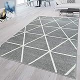 TT Home Alfombra Pelo Corto Gris Blanco Salón Rombos Diseño Escandinavo Suave Resistente, Größe:200x280 cm