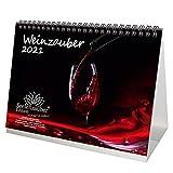 Calendrier de table DIN A5 pour vin et vigne 2021 - Coffret cadeau : 1 carte de vœux et 1 carte de Noël - Magie de l'âme