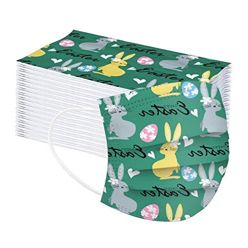 XiaoChey 50/100 Stück Erwachsene Einweg Mundschutz Multifunktionstuch, 3 lagig Süße Ostern Hase Ostereier Einmal Maske, Weiche Staubschutz Atmungsaktive Vlies Mund-Nasenschutz Bandana Halstuch