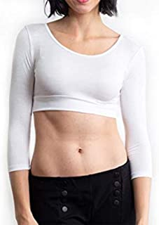 Halftee Nursing 3/4 Sleeve Layering Built in Bra Reversible Scoop Neck Tee Shirt