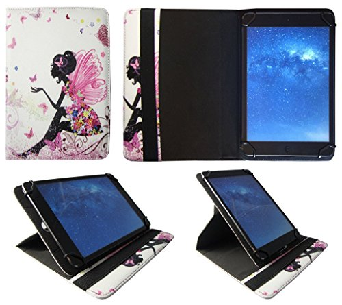 Sweet Tech Acer Iconia One 7 B1-750 / B1-760 / B1-770 7' Inch Floral Butterfly Girl Universal 360 Degree Rotating Wallet Case Cover Folio with Card Slots (7-8 inch)