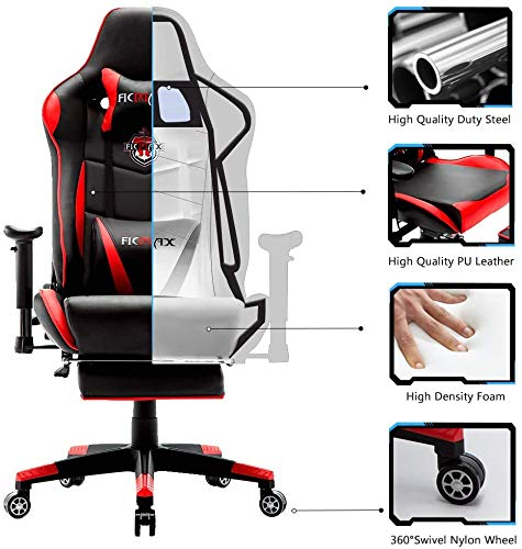 Ficmax Massage Gaming Chair Reclining Racing Home Office Chair High Back Gamer...