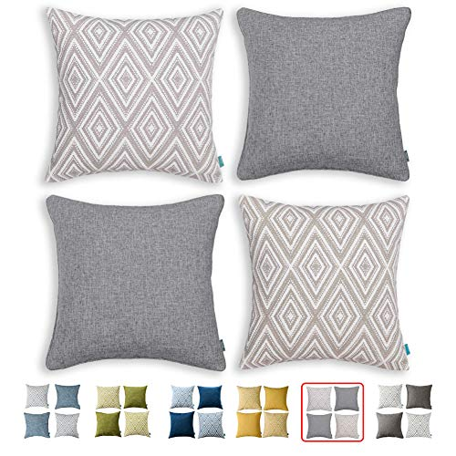 HPUK Set of 4 Decorative Throw Pillow Covers Geometric Design Cushion Pillowcases for Couch Sofa Bed Car, 17'x17', Grey