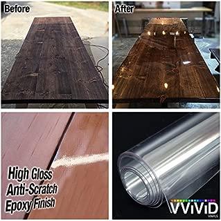 VViViD Clear High-Gloss Epoxy Vinyl Wrap Furniture Laminate Scratch-Resistant DIY 8mil Film (17.9