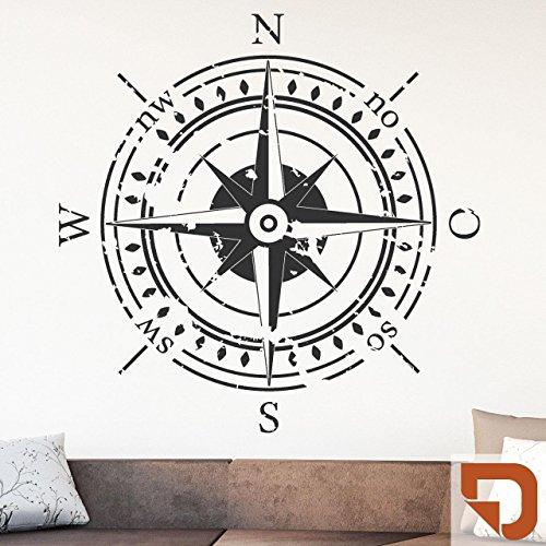 DESIGNSCAPE® Wandtattoo Himmelsrichtungen | Wandtattoo Kompass 113 x 112 cm (Breite x Höhe) haselnuss DW807374-L-F12