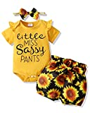 Baby Girl Summer Clothes 0-3 Months Newborn Girl Outfits Bodysuit Tops+Shorts Pants+Headband Infant Baby Girls' Clothing Lemon Yellow