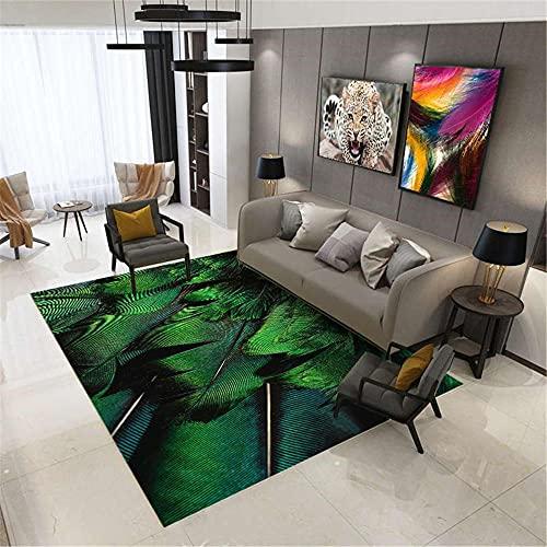 WCCCW Green Feather Fashion Creative La impresión de Alta definición no es fácil de desvanecer Área de café de la Mesa de café Alfombra-120x180cm Home Alfombra De Salón para Decoración Interior