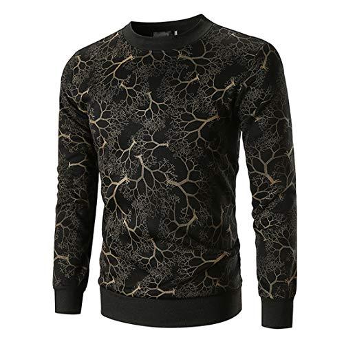 T-Shirt Herren Pullover Herren Bequeme Lässige Langarm Slim Fit All-Match Rundhalsherren T-Shirt Herbst Neue Gemischte Faser Weichen Stoff Trendige Herren T-Shirt ZZZ-Black 1 XL