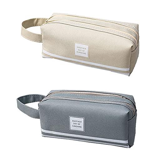 2 piezas Estuche para lápices con cremallera de gran capacidad,para útiles de oficina, mochilas escolares.