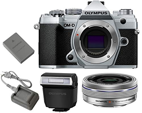 Olympus OM-D E-M5 Mark III Mirrorless Digital Camera Body + M.Zuiko Digital ED 14-42mm f/3.5-5.6 EZ Lens (Silver)