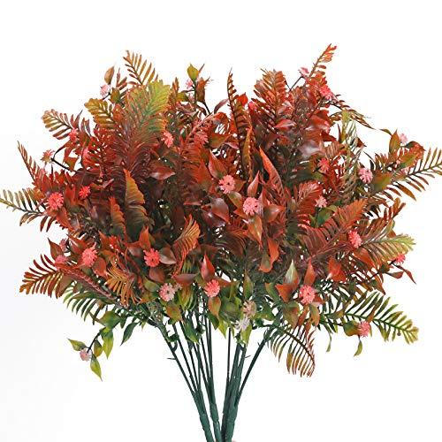 DWANCE 4Pcs Plantas Artificiales de Plástico Plantas Falsas para Interior Exterior Plantas Rojo...
