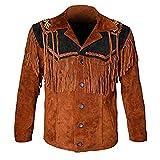 LEATHERAY Chaqueta de cuero occidental para hombre de vaquero de cuero y flecos con cuentas de cuero...