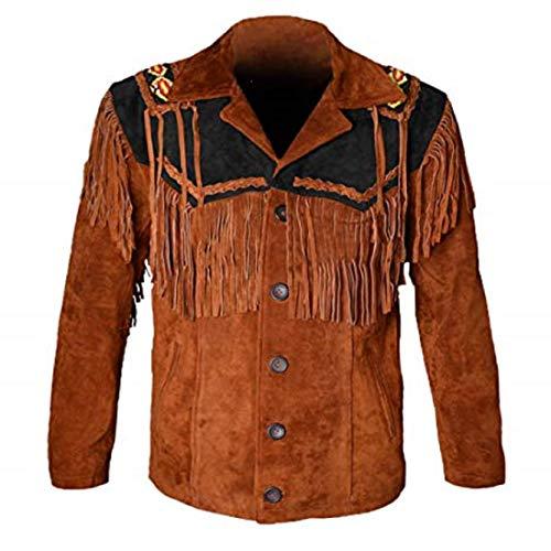 LEATHERAY Western Chaquetas de cuero para hombres Chaqueta de cuero de vaquero y flecos con cuentas abrigo de gamuza camisa de cuero - - XXL/pecho 117/ 122 cm