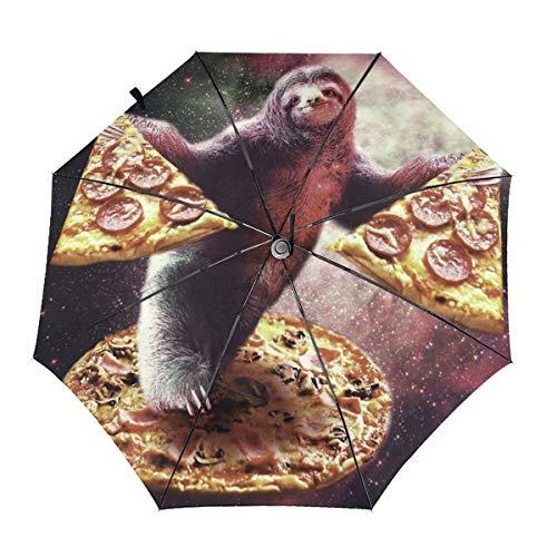 Space Sloth with Pizza Windproof Automatic Folding Umbrella Tri-fold Umbrella