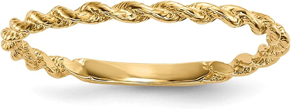 14k Yellow Gold Twisted Rope Band Ring Size 7.00 Fine Jewelry For Women Gifts For Her