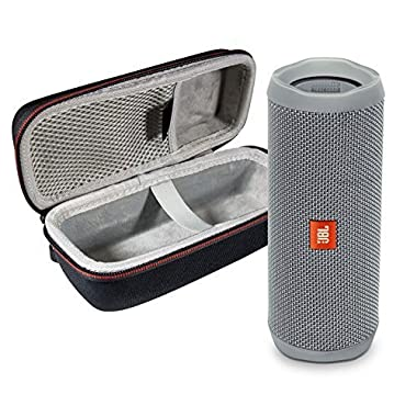 JBL Flip 4 Portable Bluetooth Wireless Speaker Bundle with Protective Travel Case - Gray