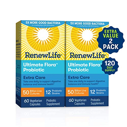 Renew Life Extra Care Probiotic - Ultimate Flora Extra Care, Shelf Stable Probiotic Supplement - Gluten, Dairy & Soy Free - 50 Billion Cfu - 60 Vegetarian Capsules (120 Count)