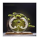planta de escritorio Nuevo árbol chino estilo bonsái artificial con escultura de belleza y luces led simulación creativa bienvenida pino bonsai interior artificial plantas verde oficina sala de estar