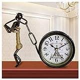 Antique Mute Iron Art Desk Clock Living Room Decoration Creative Desk Clock Art Retro Decoration Small Table Clock Bedroom Clock Ornaments Table Clock (Color : A) (D)