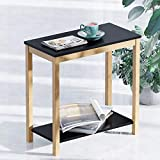 BAMEOS Bamboo Side Table Console Side Table, 2-Tier End Accent Table with Storage Shelf, Modern Furniture for Living Room Bedroom Balcony Family and Office in Black Color(23.62 x 11.81 x 23.23 in)