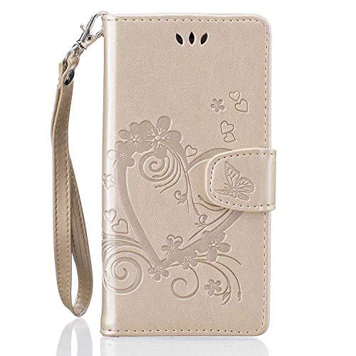 THRION Huawei P9 Lite Hülle, PU Herz Blume Brieftaschenetui mit magnetischer Handschlaufe und Ständerhalterung für Huawei P9 Lite, Gold