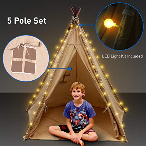 Indoor Teepee with Lights - Kids Classic Indian Play Tent & Carry Bag – Bonus Lights, Windows and Floor & 5 Poles - 62'' Tall