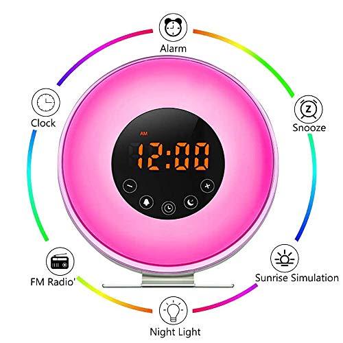 WPF ZJH LED-Wake-up-Lampe mit Snooze-Funktion von FM Radio, Digital-Wecker-LED Nachttischlampe, Nachtlicht, Sonnenaufgang und Sonnenuntergang Analog RGB-Farbwechsel Atmosphären-Lampe