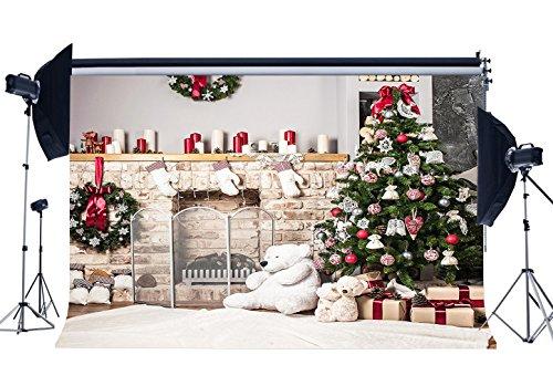 Haosphoto 7X5FT/210X150cm Christmas Backdrop Xmas Decoration Tree Fireplace Gifts Wreath Candles Carpet Bear Stocking Interior Vinyl Photography Background Happy New Year Photo Studio Props 10302