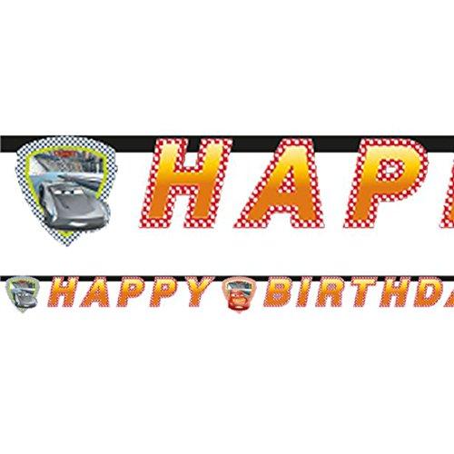 """Qualatex 49934Disney Cars 3""""FELIZ CUMPLEAÑOS 'pancarta decorativa para fiesta de troqueles , Modelos/colores Surtidos, 1 Unidad"""