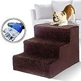 MASTERTOP Escalier 3 marches pour chiens et chats - Échelle légère pour animaux de compagnie de 12 kg - Portable, amovible, lavable, avec gants pour animaux de compagnie